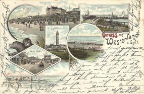 Westerland d. Sylt - Leuchtturm, Damenbad, Munkmarsch, am Strand, Strand-Strasse, Herrenbad