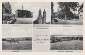 Geisenheim am Rhein - Rathaus - Lindenplatz - Rheinfront - Blick von Roten Berg