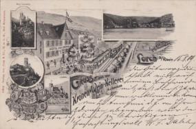 Lorch a. Rhein - Kronen-Wein-Kellerei - Hotel zur Krone - Burg Sonneck - Heimburg 1909