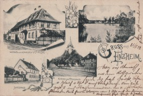 Enzheim - Kirche und Pfarrhaus - Schulhaus - See - Gasthaus 1899