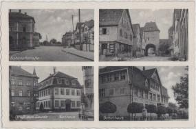Lauda - Rathaus - Bahnhofstraße - altes Stadttor - Schulhaus 1930