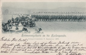 Stuttgart-Cannstatt, Errinergunskarte and die Railerparade, 1899
