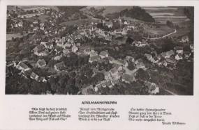 Adelmannsfelden, Fliegeraufnahme mit Gedicht von Paula Willmann, 1958