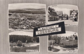 Lossburg im Schwarzwald - Luftaufnahme - Marktplatz - Schwimmbad - Kleingolf 1968