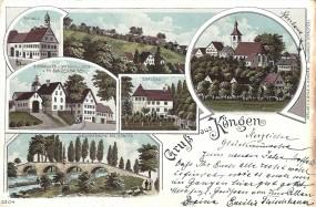 Köngen - Rathaus, Bierbrauerei u. Gasthaus z. Linde v. Th. Gunzenhausen, Schloss, Neckarbrücke bei K