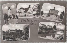 Uhingen - Württ. - Evang. Kirche - Rathaus - Kath. Kirche - Schloß Filseck 1959