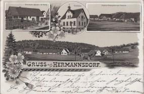 Hermannsdorf - Wirtschaft z. Rössle v. W. Klenk - Schulhaus 1903