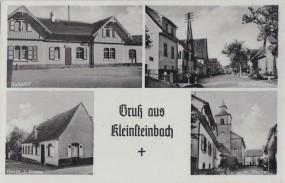 Kleinsteinbach - Bahnhof - Gasthaus zur Krone - Pforzheimstrasse - Partie mit Kirche