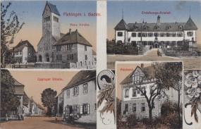 Flehingen i. Baden - Neue Kirche - Erziehungs-Anstalt - Eppinger Straße - Postamt 1920