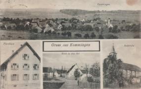 Kommingen - Pfarrhaus - Notkirche - Blick in den Ort 1933