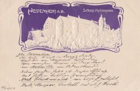 Heidenheim A.B. - Reliefkarte - Schloss Kellenstein - 1902