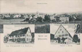 Uttenweiler - Gesamt-Ansicht - Gem. Warengeschäft v. L. Traub jr. - Gasthof z. Hirsch 1919