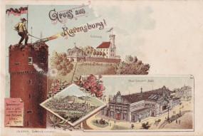 Regensburg - Ansicht v. Regensburg - Veitsburg - Neue Concert-Halle - Lith. - 1898