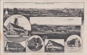 Alpenpanorama bei Amtzell - Kirche Gasthaus z. Adler - Pfarrhaus - Schloss 1925