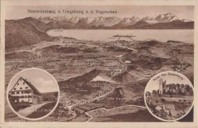 Neuravensburg u. Umgebung a. d. Vogelschau - Gasthaus v. J. B. Roth - Ruine Neuravensburg 1933