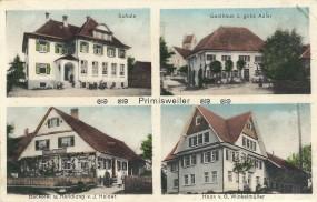 Primisweiler - Schule, Gasthaus z. gold. Adler, Bäckerei u. Handlung v.J. Haider, Haus v.G. Winkelmü