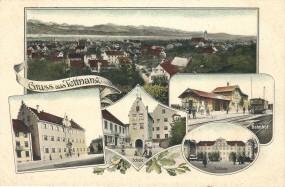 Tettnang - Rathaus, Schule, Bahnhof, Schloss