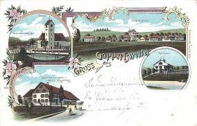 Gopperlisweiler - Totalansicht, Pfarrhaus, Kirche, Passionsspielhalle 1900, Gasthaus z. Löwen J. Häf