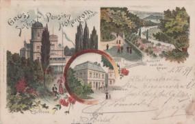Schloss u. Pension Höhenroth b. Grafrath - Aussicht nach der Amper 1899