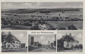 Wörleschwang - Totalansicht - Pfarrhof - Kirchstraße - Schule 1939