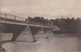 Lager Lechfeld - Truppenübungslatz - Lechbrücke mit Zollhaus bei Schwabstadel 1917
