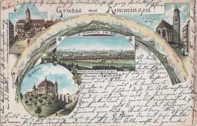 Memmingen - Panorama von der Eisenburg - Frauenkirche - St. Martins Kirche 1899