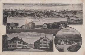 Panorama vom Schwarzen Grat - Nellenbruck - Gasth. z. Rössle - Bahnhof Kleinweiler-Hofen 1917