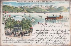 Lindau i. B. - Alpenpanorama v. Schützengarten - Musikpavillon 1898