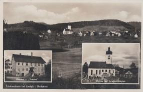 Unterreitnau bei Lindau im Bodensee - Gasthof zur Traube - Kirche mit Kriegerdenkmal