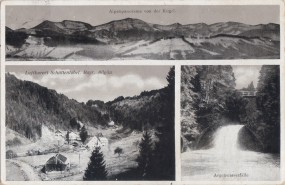 Luftkurort Schüttentobel - Bayr. Allgäu - Alpenpanorama v. d. Kugel - Argenwasserfälle 1931