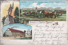 Maria-Thann - Gasthaus z. Löwen, Bes. J. Hagspihl - Kriegerdenkmal - Alpenpanorama 1901
