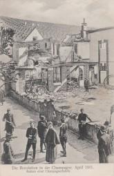 Die Revolution in der Champagne - Ruinen einer Champagnerfabrik 1911