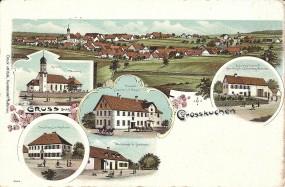 Grosskuchen - Kirche, Pfarrhaus, Forsthaus in Nietheim, Wirtschaft in Nietheim, Brauerei z. Lamm v.J