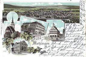 Metzingen - Rathaus, Kirche, Hotel Sprangel