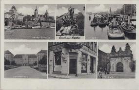 Stettin - Haken-Terrasse - Manzel-Brunnen - Im Hafen - Landeshaus - Königstor