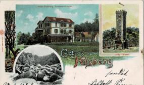 Gruss vom Felsberg bei Reichenbach im Odenwald Hotel Ohly Turm