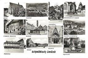 Schwäbisch Gmünd - Münster, Gesamtbild, Fünfknopfturm, Monsterbrunnen mit Campanille, St. Salvator,