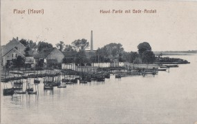 Plaue (Havel) - Havel-Partie mit Bade-Anstalt 1917