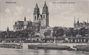Magdeburg - Dom und Partie an der Elbe 1917