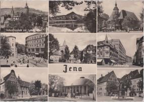 Jena - Johannisplatz mit Landgrafen - Rathaus - Hausberg - Holzmarkt - Schillerstraße 1960
