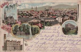 Zittau - Kath. Kirche - Kgl. Baugewerkschule - Rathaus - Weinau Restaurant 1900