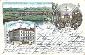 Isny i. Allgäu - Gasthof u. Bierbrauerei Strauss v. E. Herburger, Konzertsal z. Strauss